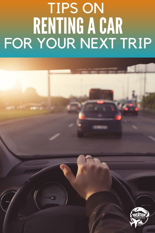 Tips for renting a car on your next trip showing man driving car
