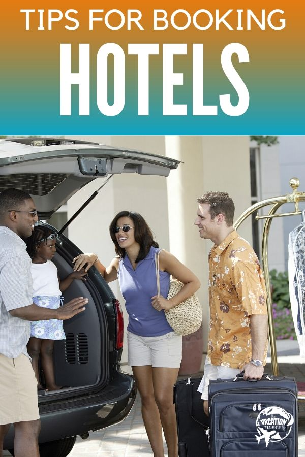 Tips for booking hotels with a bellboy helping a family put their luggage into a car
