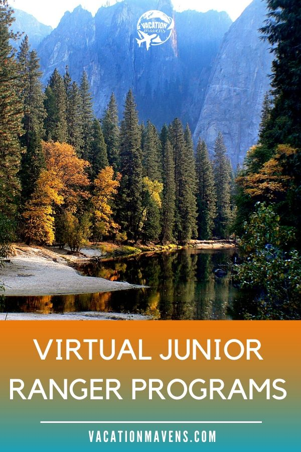 Virtual Junior Ranger Programs Vacation Mavens podcast promo with mountain and lake in background