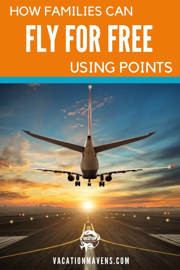 How families can fly free using points Vacation Mavens podcast with a plane landing at sunset