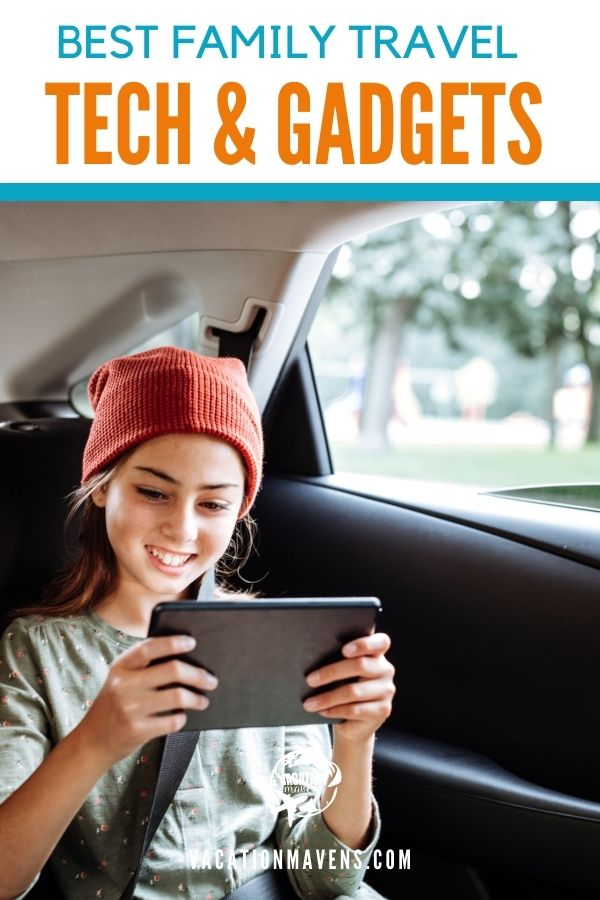 Best family travel tech & gadgets teen girl holding tablet in a car